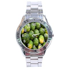 Food Summer Pattern Green Watermelon Stainless Steel Analogue Watch