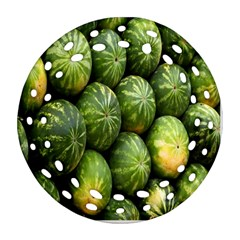 Food Summer Pattern Green Watermelon Round Filigree Ornament (two Sides)