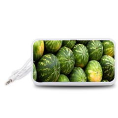 Food Summer Pattern Green Watermelon Portable Speaker (White)