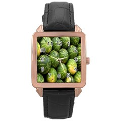 Food Summer Pattern Green Watermelon Rose Gold Leather Watch
