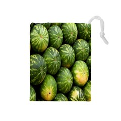 Food Summer Pattern Green Watermelon Drawstring Pouches (Medium)