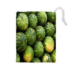 Food Summer Pattern Green Watermelon Drawstring Pouches (large)