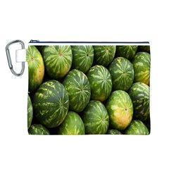 Food Summer Pattern Green Watermelon Canvas Cosmetic Bag (L)