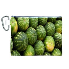 Food Summer Pattern Green Watermelon Canvas Cosmetic Bag (XL)