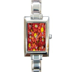 Flowers Nature Plants Autumn Affix Rectangle Italian Charm Watch