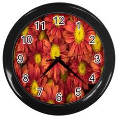 Flowers Nature Plants Autumn Affix Wall Clocks (Black)