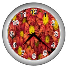 Flowers Nature Plants Autumn Affix Wall Clocks (silver)