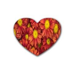 Flowers Nature Plants Autumn Affix Heart Coaster (4 Pack)