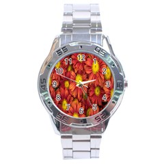 Flowers Nature Plants Autumn Affix Stainless Steel Analogue Watch