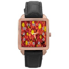 Flowers Nature Plants Autumn Affix Rose Gold Leather Watch