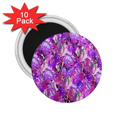 Flowers Abstract Digital Art 2.25  Magnets (10 pack)