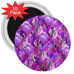 Flowers Abstract Digital Art 3  Magnets (10 pack)