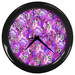 Flowers Abstract Digital Art Wall Clocks (Black)