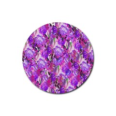 Flowers Abstract Digital Art Rubber Coaster (Round)