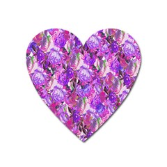 Flowers Abstract Digital Art Heart Magnet