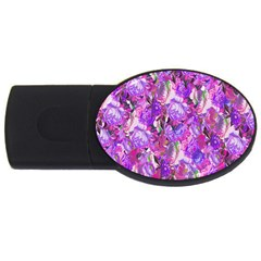 Flowers Abstract Digital Art USB Flash Drive Oval (1 GB)