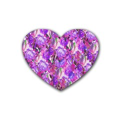Flowers Abstract Digital Art Heart Coaster (4 pack)