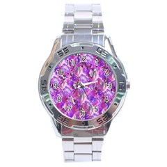 Flowers Abstract Digital Art Stainless Steel Analogue Watch