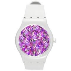 Flowers Abstract Digital Art Round Plastic Sport Watch (M)