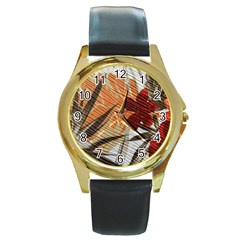 Fall Colors Round Gold Metal Watch