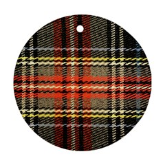 Fabric Texture Tartan Color Ornament (Round)