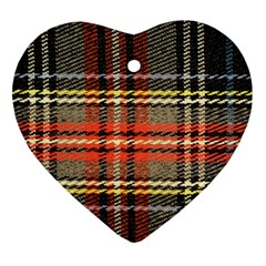 Fabric Texture Tartan Color Ornament (Heart)