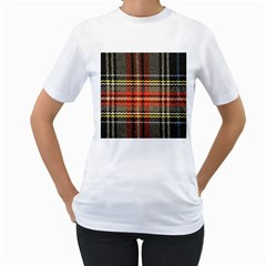 Fabric Texture Tartan Color Women s T Shirt (white) (two Sided)