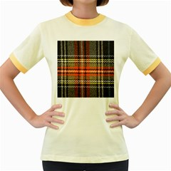 Fabric Texture Tartan Color Women s Fitted Ringer T-Shirts