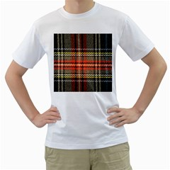 Fabric Texture Tartan Color Men s T-Shirt (White) (Two Sided)