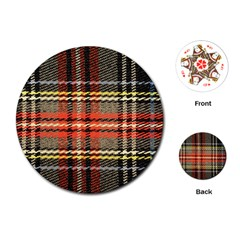 Fabric Texture Tartan Color Playing Cards (Round)