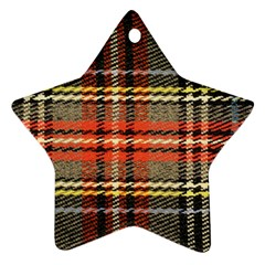 Fabric Texture Tartan Color Star Ornament (two Sides)