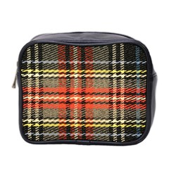 Fabric Texture Tartan Color Mini Toiletries Bag 2-Side