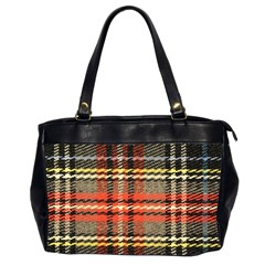 Fabric Texture Tartan Color Office Handbags (2 Sides)