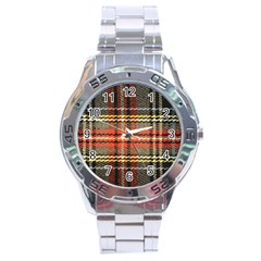 Fabric Texture Tartan Color Stainless Steel Analogue Watch