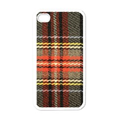 Fabric Texture Tartan Color Apple iPhone 4 Case (White)