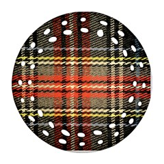 Fabric Texture Tartan Color Round Filigree Ornament (Two Sides)