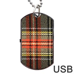 Fabric Texture Tartan Color Dog Tag USB Flash (One Side)