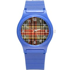 Fabric Texture Tartan Color Round Plastic Sport Watch (S)