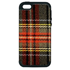 Fabric Texture Tartan Color Apple iPhone 5 Hardshell Case (PC+Silicone)