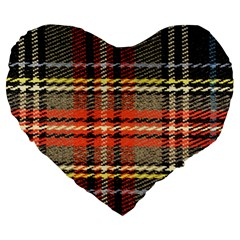 Fabric Texture Tartan Color Large 19  Premium Heart Shape Cushions