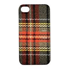 Fabric Texture Tartan Color Apple iPhone 4/4S Hardshell Case with Stand