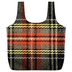 Fabric Texture Tartan Color Full Print Recycle Bags (L)