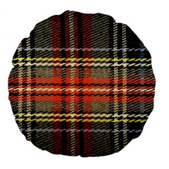 Fabric Texture Tartan Color Large 18  Premium Flano Round Cushions