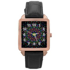 Fractal Texture Rose Gold Leather Watch