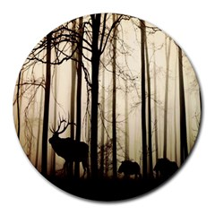 Forest Fog Hirsch Wild Boars Round Mousepads