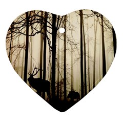 Forest Fog Hirsch Wild Boars Ornament (Heart)