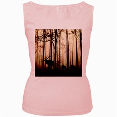 Forest Fog Hirsch Wild Boars Women s Pink Tank Top