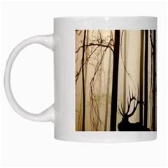 Forest Fog Hirsch Wild Boars White Mugs