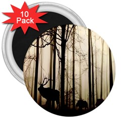 Forest Fog Hirsch Wild Boars 3  Magnets (10 pack)