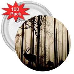 Forest Fog Hirsch Wild Boars 3  Buttons (100 pack)